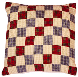 tartain patchwork cushion cover