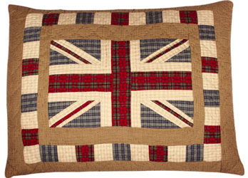 union jack patchwork pillow cham