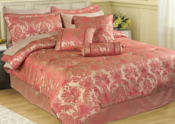 carrington rose damask bedspread with matching curtains duvet cover, bed skirt valance and cushions