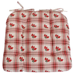 holly red check seat pad