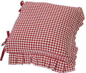 auberge red frilled seat cushion pad