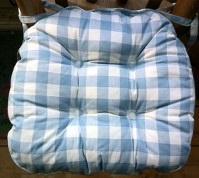 blue gingham country check chunky seat pad