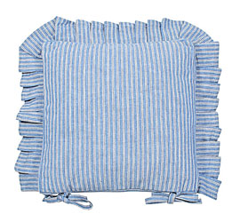 county ticking cornish blue frilled seat pad
