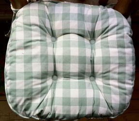 green gingham country check chunky seat pad