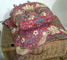 william morris strawberry thief crimson seat pads
