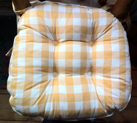 yellow gingham country check seat pad