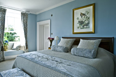 holland park blue linen bedspread