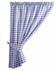 gingham blue curtains