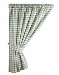 gingham green kitchen curtains