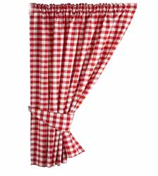 gingham red curtains