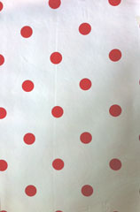 red on white dotty oilcloth