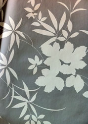 white on grey floral oilcloth