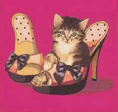 cute kitten in heels tapestry cushion cover
