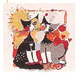 abstract cats cushion cover