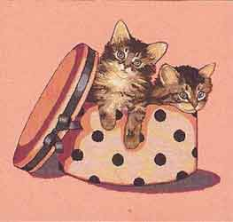 kittens in hatbox tapestry cushion cover