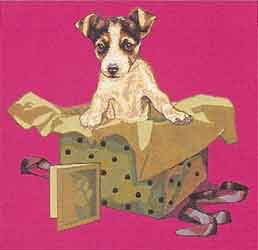 puppy in box tapestry cushion cover