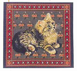 cat tapestry cushion cover blue