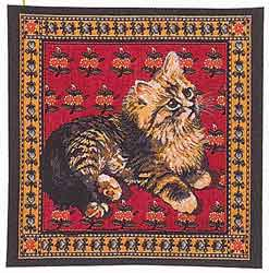 cat tapestry cushion cover red