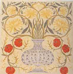 william morris flower pot tapestry cushion