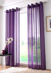 purple voile eyelet curtain