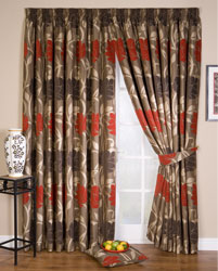 lucille red pencil pleat curtains