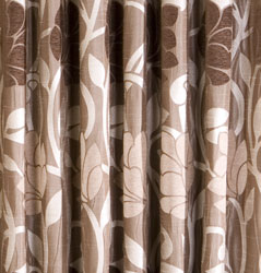 lucille taupe pencil pleat ready made curtains closeup